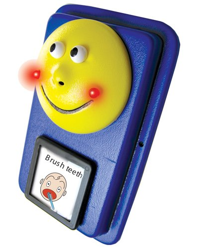 """A blue rectangular device with a large yellow smiley face at the top. Below the smiley face, there is a square illustration of a child brushing their teeth with the words """"brush teeth"""" in black font."""