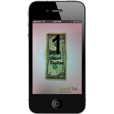 """Smartphone screen of a scanned American dollar bill with the words, """"1 Dollar""""."""