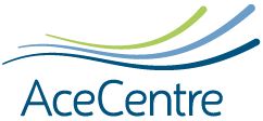 """The words """"AceCentre"""" in dark blue with three curved blue and green lines above against a white background."""