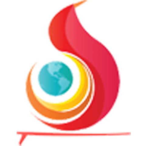 A red flame-like graphic with a small blue globe alongside. There is a red border below.