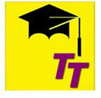 Large yellow square with black graduation cap on top and two offset purple capital letter Ts in the bottom right corner.