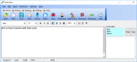 Screenshot of main screen with menu button options across the top, a text input window below on the left, and a corrections window on the right.