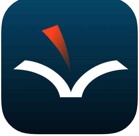 A dark blue background with a white and red open book graphic.