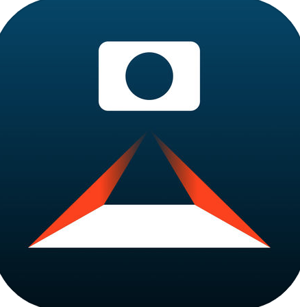 A dark blue background with a white and red graphic, consisting of a camera scanning a sheet of paper.
