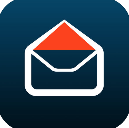 A dark blue background with a white and red envelope graphic.