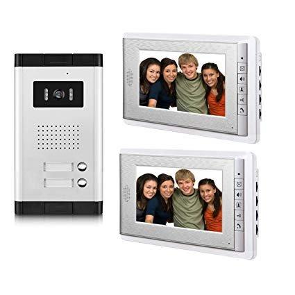 Two video display screens shown with a separate intercom component.