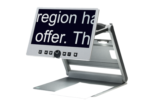 Flat display showing large letters on the screen attached to a folding arm and connected to a silver-colored flat surface with a piece of paper on it.
