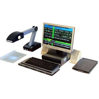SmartReader camera attached to an arm and base, projecting text on a document below it onto a monitor with a keyboard in front of it.