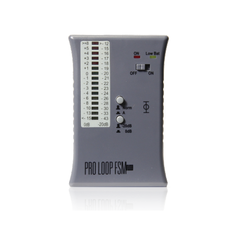 Gray rectangular device with a dB measuring scale in the upper left corner and a power switch to the right.