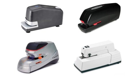 Four different models of electric staplers. They resemble standard staplers and range from black, to dark grey, to white in color.