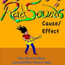 Orange square logo with the title RadSounds name written in multiple colors across the top and a cartoon image of a man playing a yellow guitar below it.