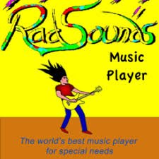 Yellow square logo with the title RadSounds name written in multiple colors across the top and a cartoon image of a man playing a yellow guitar below it.
