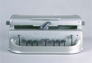 Image of a Perkins-style braille editor.