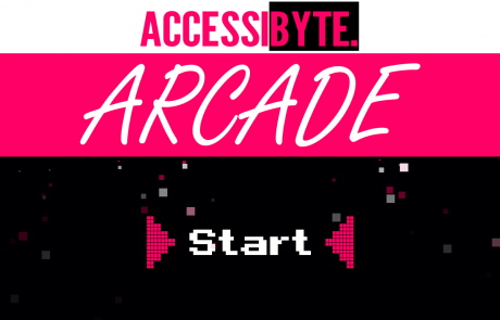 """Screenshot of a white, fuschia, and black-colored program interface with the words """"Accessibyte Arcade."""" In the center, there is the word """"Start"""" in classic arcade font."""