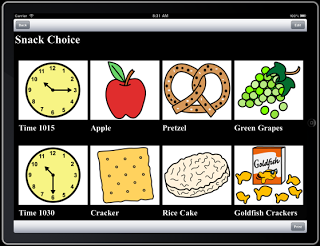 """Screenshot showing images of food below the phrase, """"snack choices""""."""