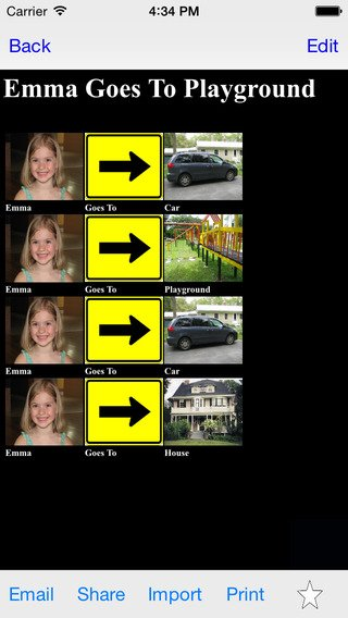 """Screenshot showing with photos a sequence of steps below the phrase, """"Emma goes to playground""""."""
