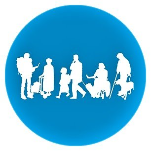 MindTags Logo icon with silhoutte of people, some of whom have disabilities.