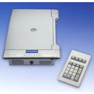 A flat, rectangular device with a speaker and control buttons in the front and a document scanner on top. Beside this device is an eternal keypad.