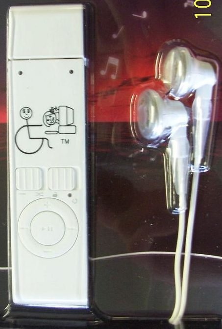 Small MP3 player with a scroll wheel, a lid, and accompanying in-ear headphones.