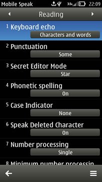 A black software interface displaying a settings menu with various options.