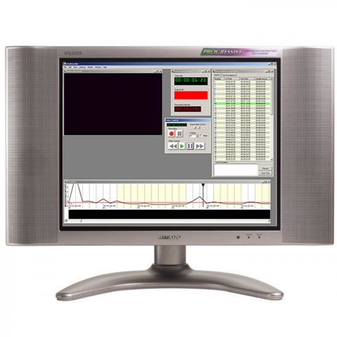 Picture of TV on a stand with the display showing the software, which has a listing on the right and a sound graph along the bottom.