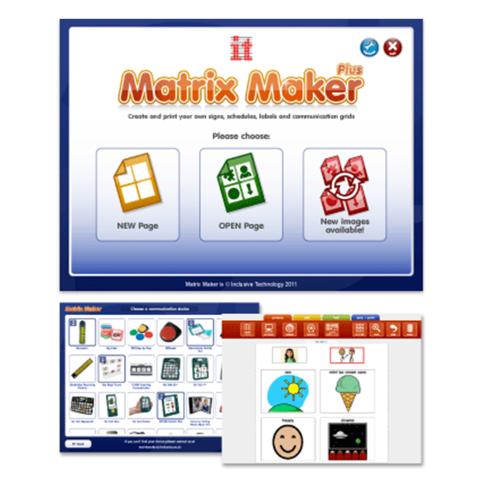 Three Matrix Maker Plus menu icons and two screenshots of various symbols and designs.