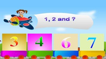 """Screenshot of a colorful drawing depicting a young girl flying an airplane with a banner saying """"1, 2 and?"""" over four blocks with numbers in them."""