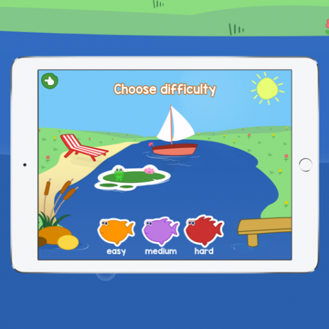 Screenshot showing a drawing of a beach on a lake and the option for the user to choose their difficulty level.