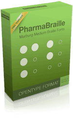 """A bright green software box with the words """"PharmaBraille"""" at the top in black font and white circle graphics meant to represent Braille dots below."""