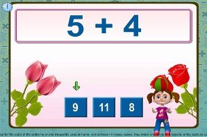 Screenshot of a math problem across the top against a pink background and a drawing of two roses coming out diagonally from the left and right corners. A young girl is standing on the bottom right and on her left are three possible answers.