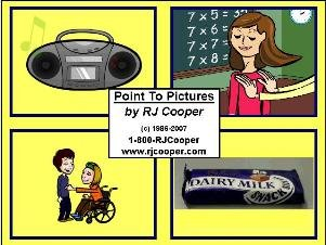 Square yellow image with a grid of four drawings, showing a boombox, a girl in front of chalkboard, a girl in a wheelchair reaching out to a boy, and a candy bar.