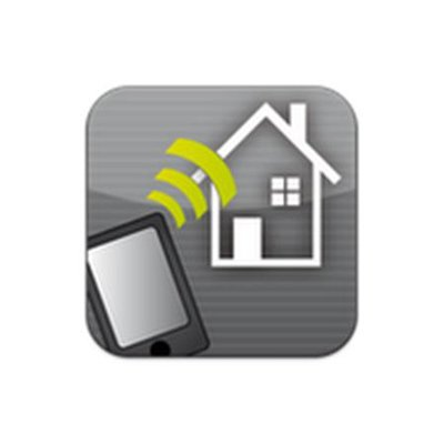 KNX Controller app icon featuring a smartphone sending wifi waves towards a house. .