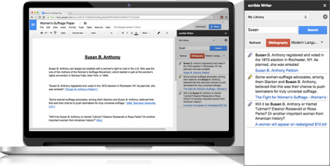 A laptop displaying a Google Drive article, and a smartphone display pictured alongside displaying the same document, demonstrating that Scrible content syncs across devices.