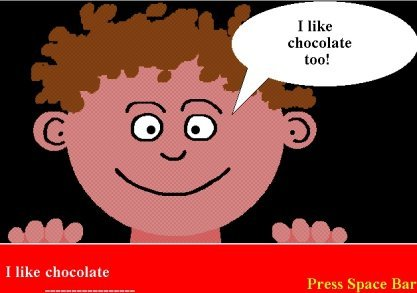 """Cartoon drawing of young boy with brown hair smiling and saying """"I like chocolate too!"""""""