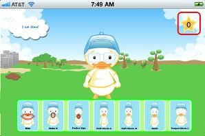 Cartoon image of a duck standing in a field on top of a menu of eight images of a duck with various facial expressions.