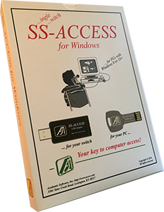 Angled view of software box cover showing a person seated using a computer with a switch and a drawing of a thumb drive below.