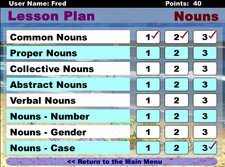 Screenshot showing a lesson plan for nouns with a list of exercises and checkboxes.