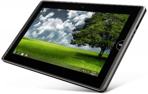 Rectangular tablet-sized flat computer resting on its lower right corner with an image of a tree in a field on it.