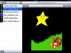Screenshot showing a drop down menu on the left and cartoon drawing of a dog lying in grassy yard at night with a yellow smiling star in the sky.