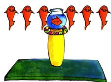 Drawing of a fishbowl on a yellow stand which is sitting on a green mat. Three dancing red fish are suspended on each side of the fishbowl.
