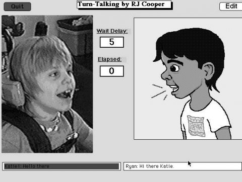 Screenshot of a photo of a child talking on the left and a drawing of a child talking on the right, with two timer counters in between.