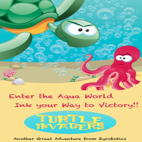 Cartoon drawing of a sea turtle with an angry expression staring at a violet-colored octopus at the bottom of the water.