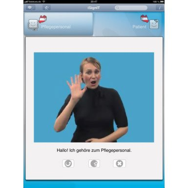 An application on a mobile device of a woman signing