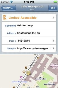 Smartphone screenshot of a map with a menu screen open showing location information.