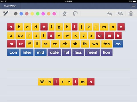 Screenshot of a keyboard, with keys colored yellow, red, and blue and letter tiles in a row at the bottom.