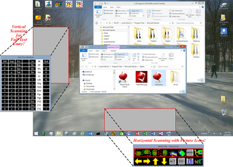 Screenshot of Windows desktop with multiple windows open and pop outs magnifying two of the program's functions.