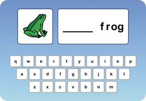 Rounded blue rectangular image with a white Qwerty keyboard on the bottom and a frog in a white box on the upper left. A white rectangular window is in the upper right with the word frog next to a blank line.