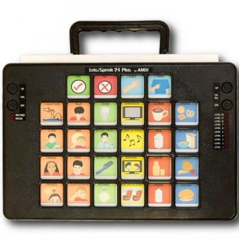 "A black rectangular device with 24 message icons with text above such as ""movies"" and ""listen to music,"" and a handle on the top."