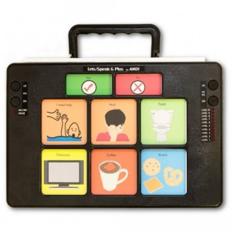 "A black rectangular device with six message icons with text above such as ""television"" and ""coffee,"" and a handle on the top."