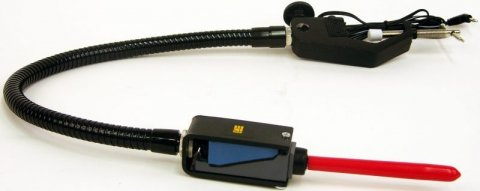 A black cord with a switch and red four-inch wand at one end and a clamp at the other.